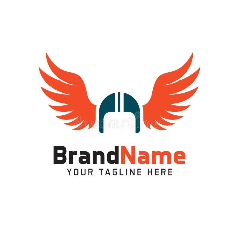 Helmet biker wings logo. minimalist simple logo royalty free illustration