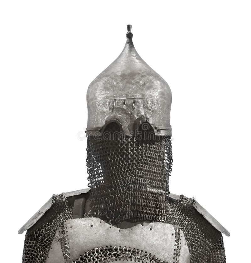 Helmet and chain mail armor isolated. Ancient warrior soldier metal helmet and upper body chain mail armor, of Middle Eastern origin. Isolated on white royalty free stock photos