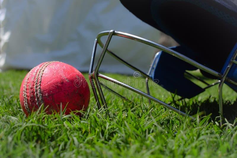 Helmet and cricket ball  on a green grass. Macro shot of cricket equipments. stock photo