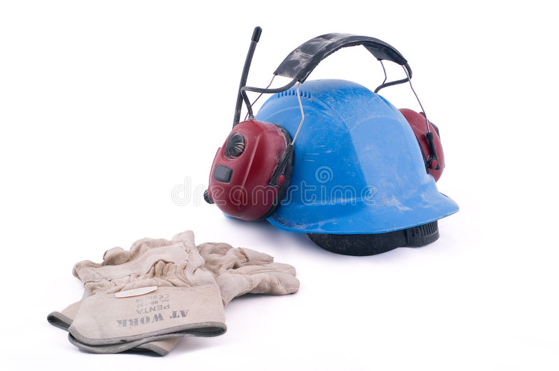 Helmet, gloves, protectives. Working gloves, working helmet and hearing protector, isolated on white background stock images