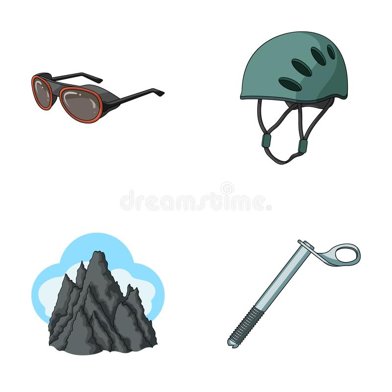 Helmet, goggles, wedge safety, peaks in the clouds.Mountaineering set collection icons in cartoon style vector symbol royalty free illustration