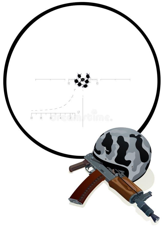 Helmet, gun and target stock image