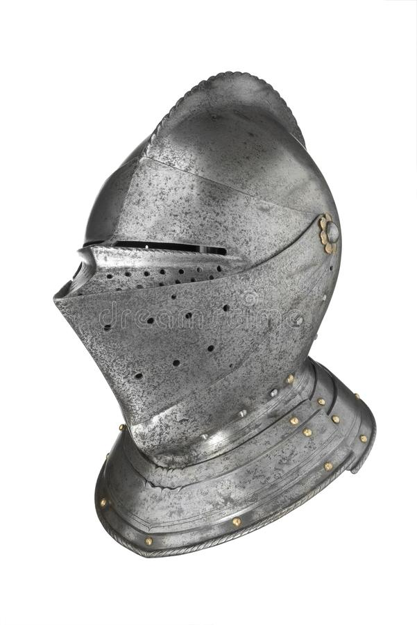 Helmet of knight armour suit,. Helmet of medieval knight armour suit stock photos