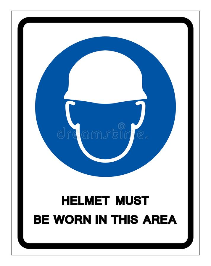 Helmet Must Be Worn In This Area Symbol Sign, Vector Illustration, Isolate On White Background Label .EPS10 vector illustration