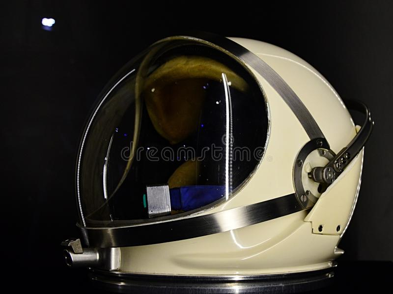 Helmet PGA for spacesuit G4C used in Gemini space program displayed on expo. Helmet PGA for spacesuit G4C used in Gemini space program displayed on exhibition stock photography