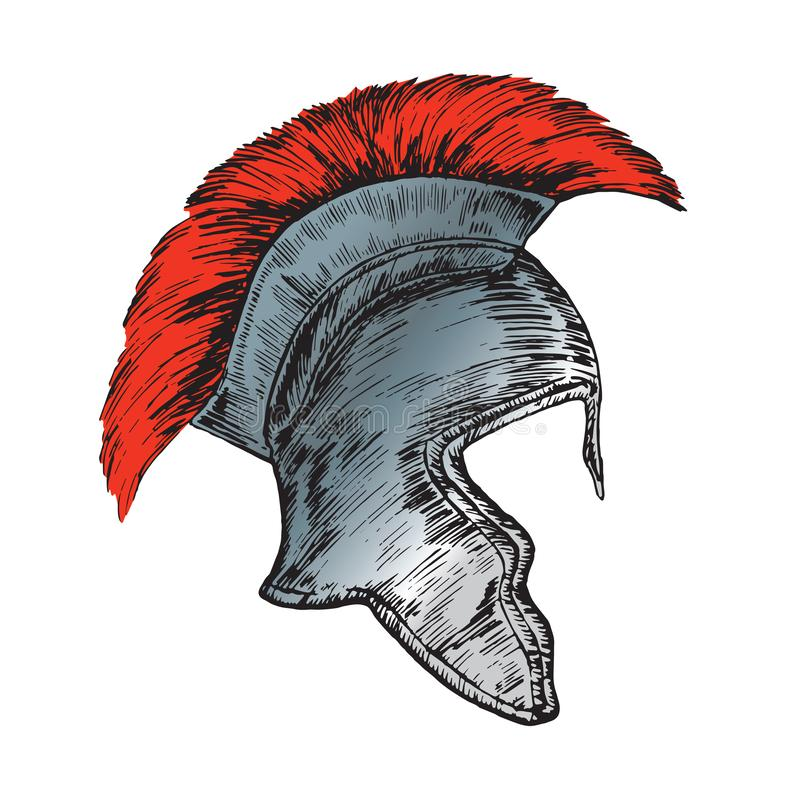 Helmet of the Roman Legionnaire, hand drawn doodle, sketch in woodcut style. Color illustration royalty free illustration
