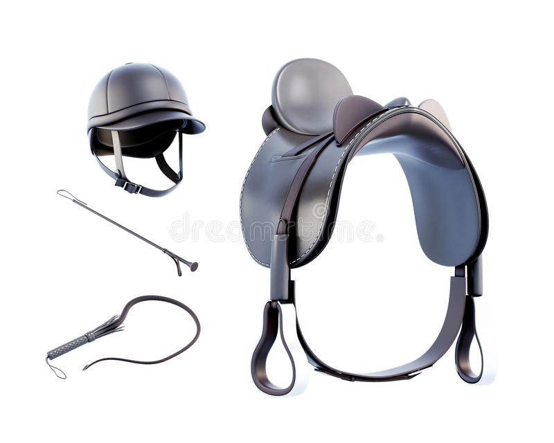 Helmet, saddle, whip for riding isolated on white background. 3d. Rendering vector illustration