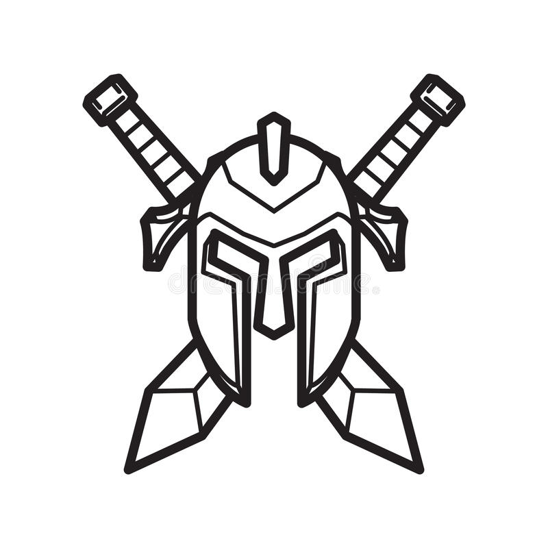 Helmet and Sword of a medieval knight. Simple Helmet and Sword of a medieval knight vector illustration