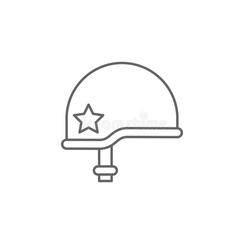helmet war outline icon. Elements of independence day illustration icon. Signs and symbols can be used for web, logo, mobile app, stock illustration