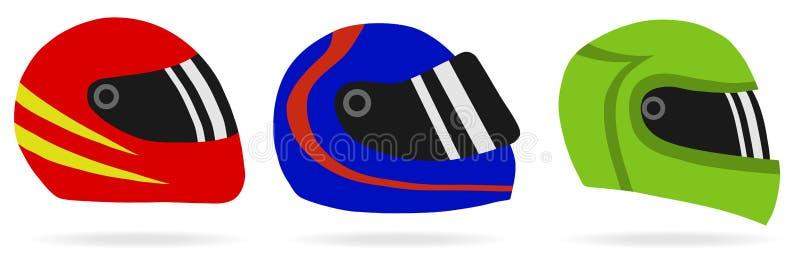 Helmets of motorcyclists stock illustration