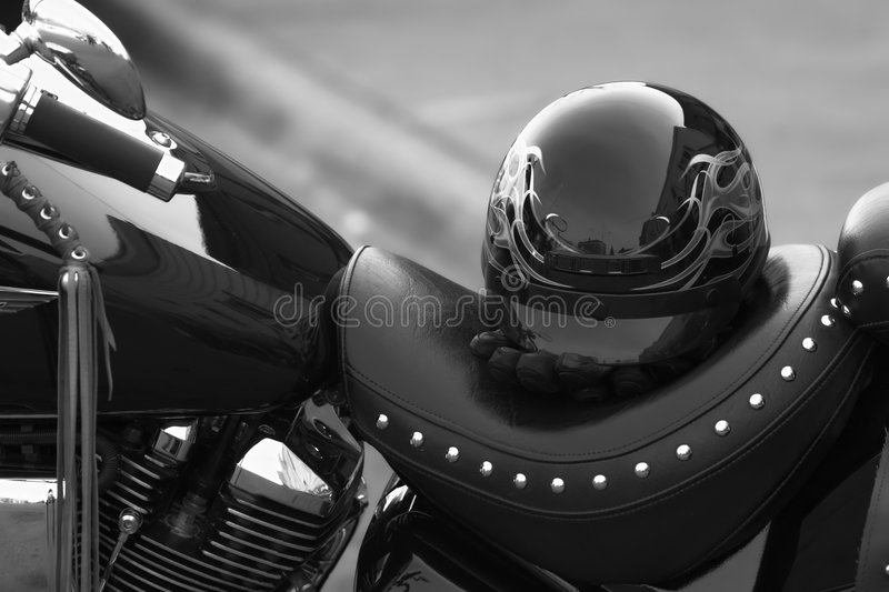 Helmut and motorcycle stock photography