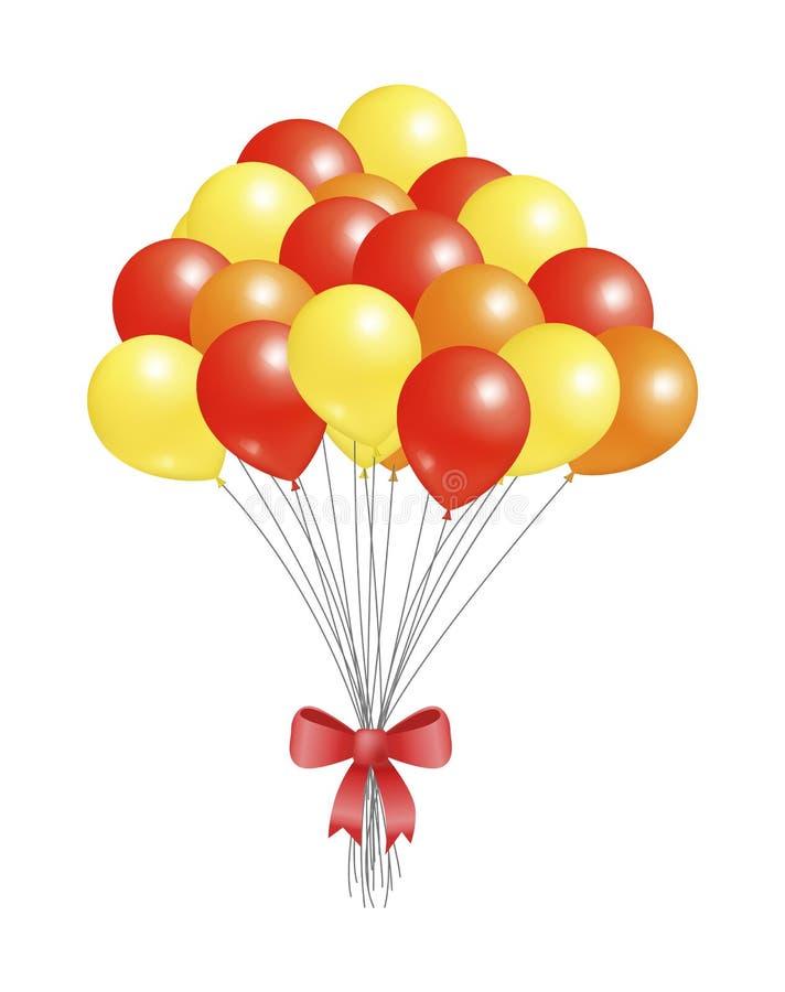 Helowi Latający elementy Dekorujący Czerwony łęk, balony royalty ilustracja