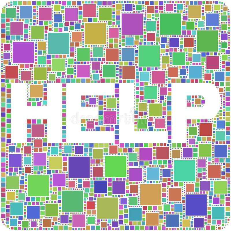 Help!. The figure is composed by a mesh of squares coloured. The map is divided into a set of individually-shaped squares vector illustration