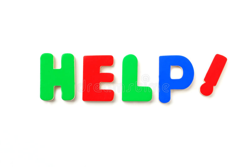 HELP!. Colorful Letters Spell the Word HELP stock photo