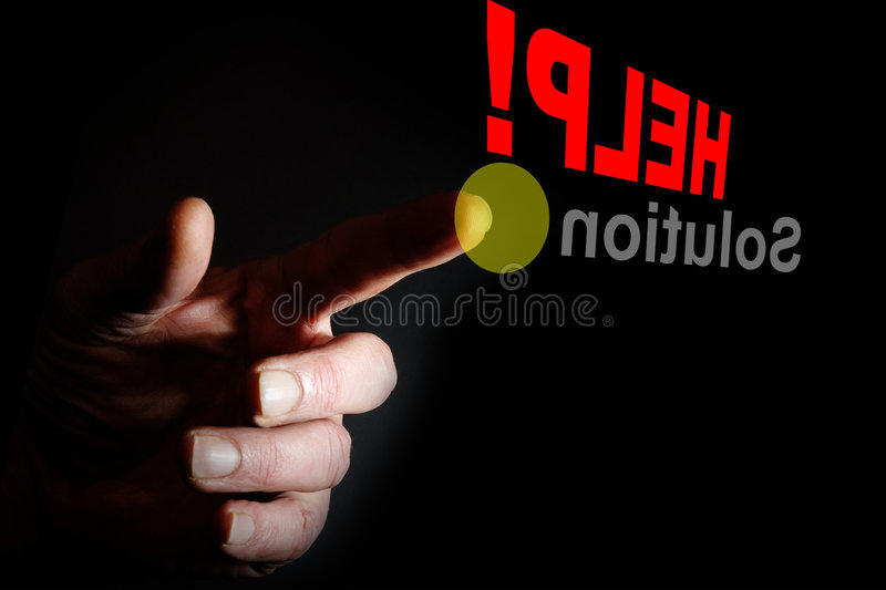 Help. Hand pointing for help stock photography