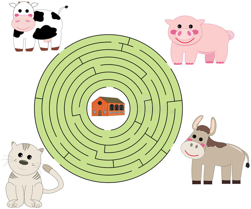 Download Help the animals stock vector. Image of farm, labyrinth - 18790246
