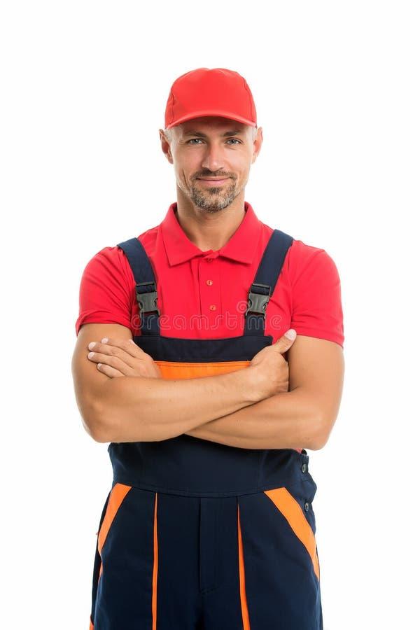 Help around house handyman service. Man helpful laborer. Repair and renovation. Repair tips. Guy worker in uniform royalty free stock photo