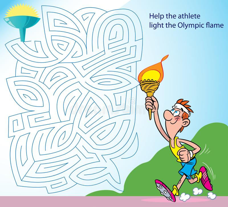 Help the athlete light the Olympic flame. A puzzle in which you need to help an athlete walk through the maze to the Olympic flame royalty free illustration
