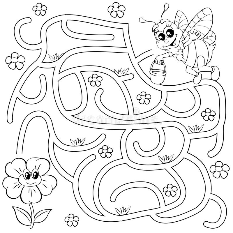 Help bee find path to flower. Labyrinth. Maze game for kids. Black and white vector illustration for coloring book stock illustration