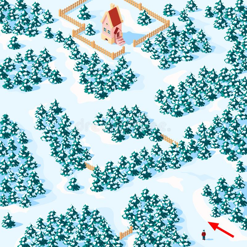 Help the boy find the way to the house in the winter forest, game riddle maze. royalty free stock images