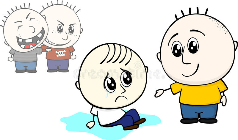 Help bullied little child. Kid offers help to stand up to bullied little child vector illustration