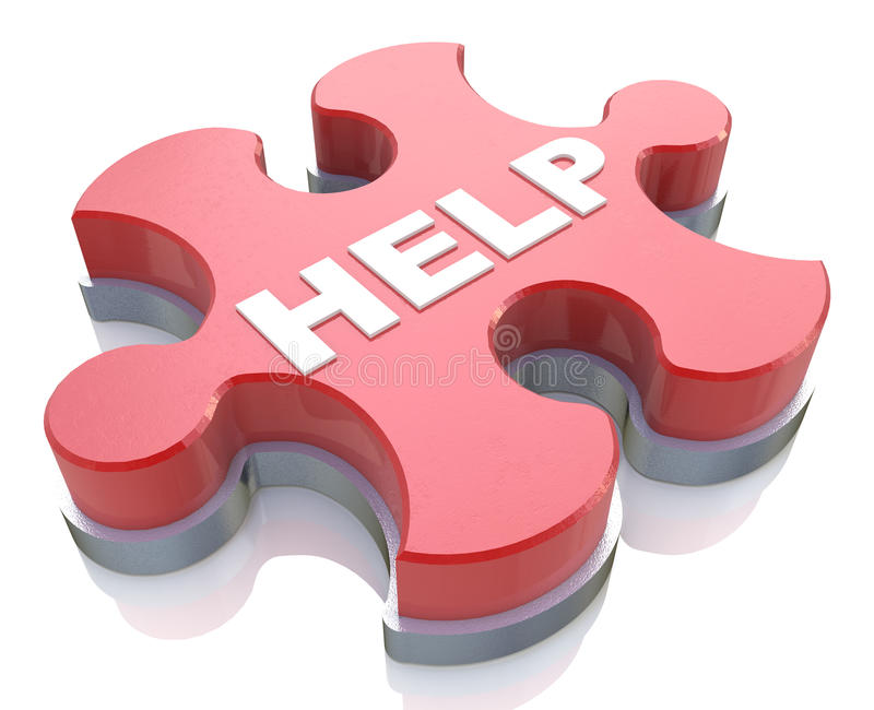 Help button in the form of puzzle stock photography