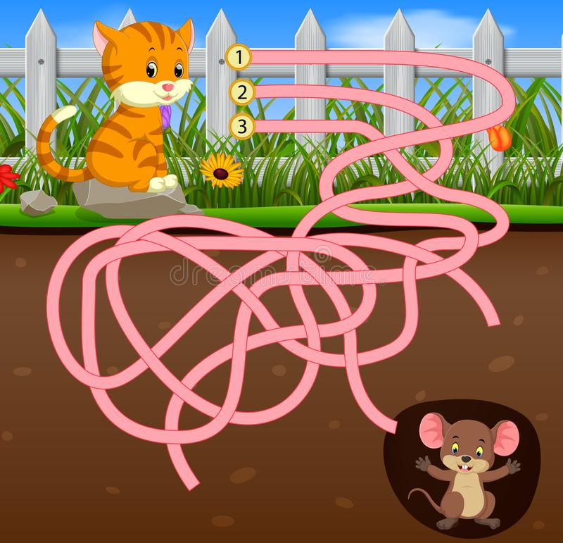 Help the cat to find the mouse!. Illustration of Help the cat to find the mouse vector illustration