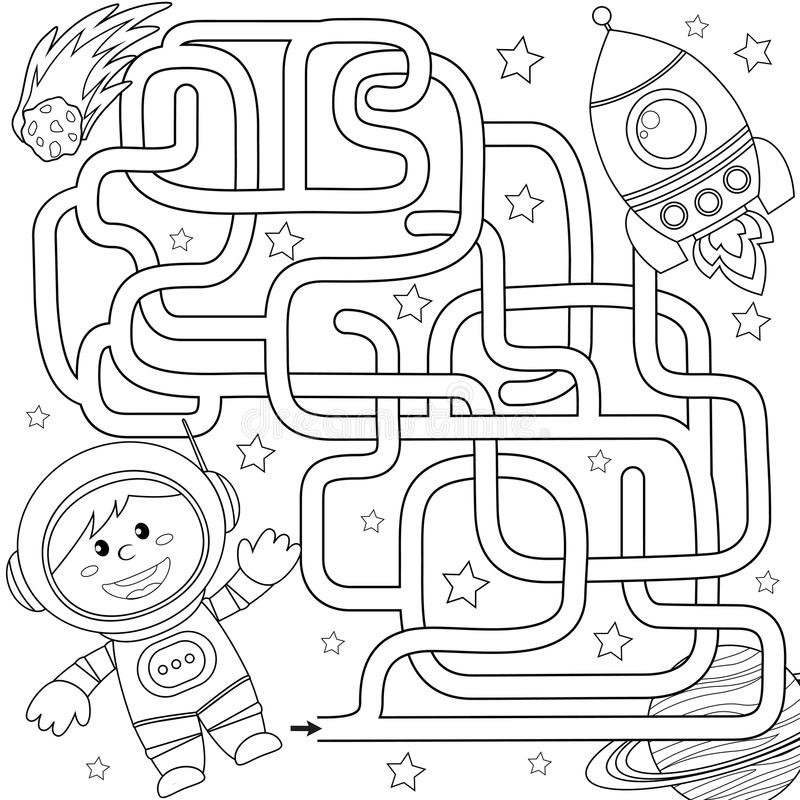 Help cosmonaut find path to rocket. Labyrinth. Maze game for kids. Black and white vector illustration for coloring book. Vector illustration vector illustration