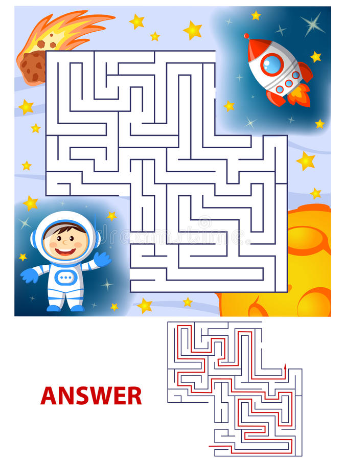 Help cosmonaut find path to rocket. Labyrinth. Maze game for kids. Vector illustration vector illustration