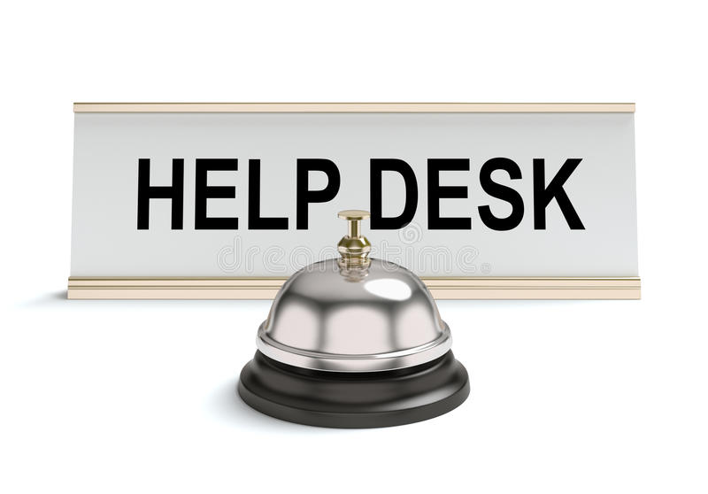 Help desk. 3D concept with help desk sign and bell on a white background vector illustration