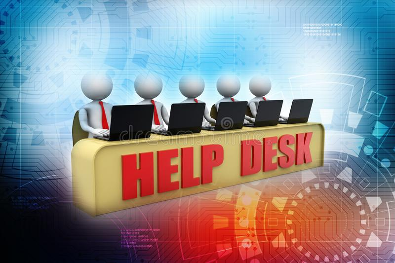 Help Desk Concept, 3D little human character in a Call Center. 3d render stock illustration