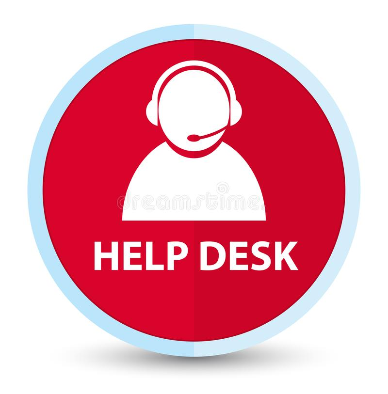Help desk (customer care icon) flat prime red round button. Help desk (customer care icon) isolated on flat prime red round button abstract illustration stock illustration