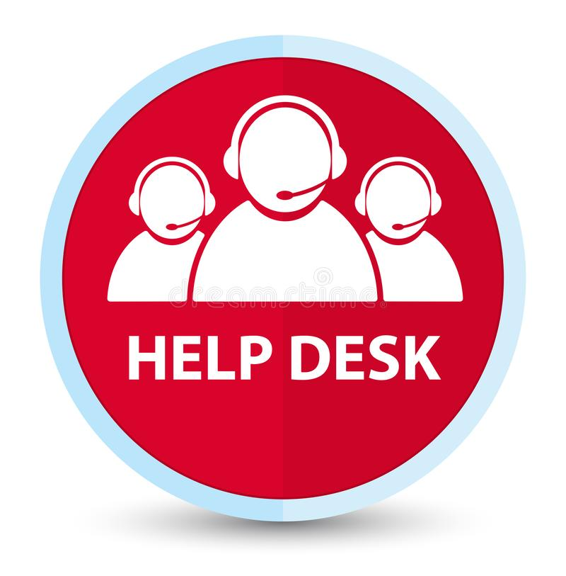 Help desk (customer care team icon) flat prime red round button. Help desk (customer care team icon) isolated on flat prime red round button abstract stock illustration