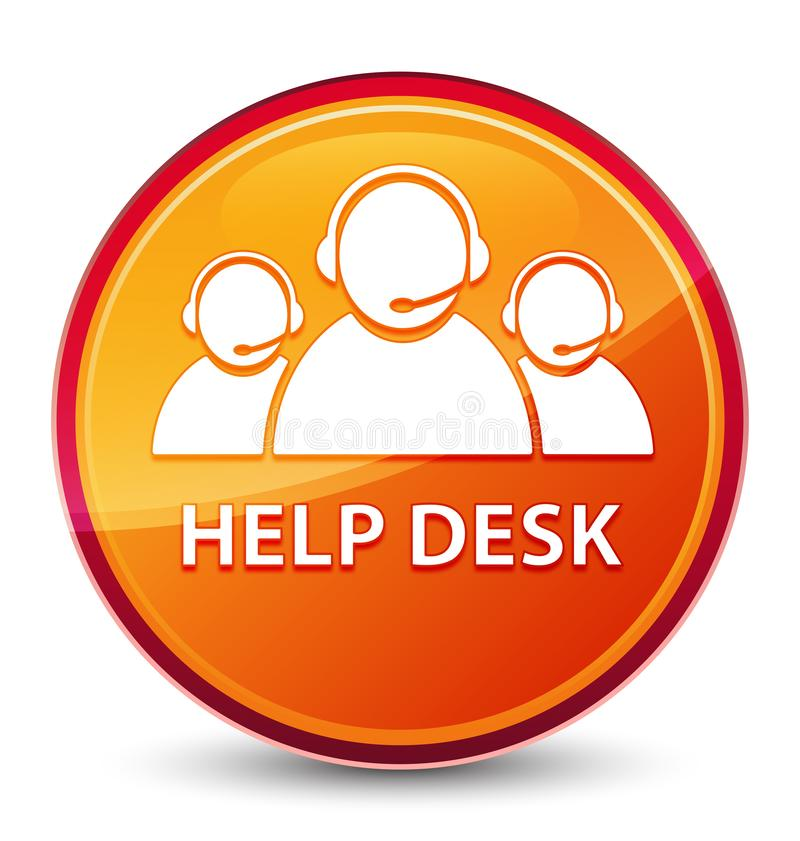 Help desk (customer care team icon) special glassy orange round button. Help desk (customer care team icon) isolated on special glassy orange round button vector illustration