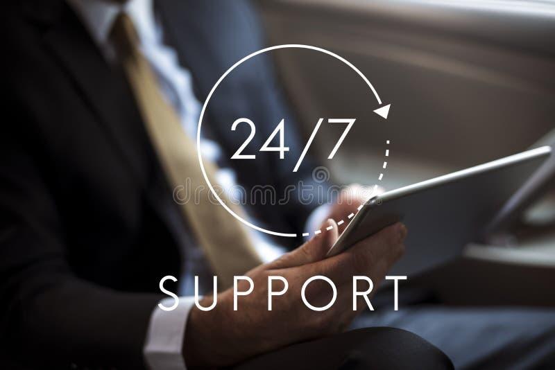 24/7 Help desk customer service overlay royalty free stock image
