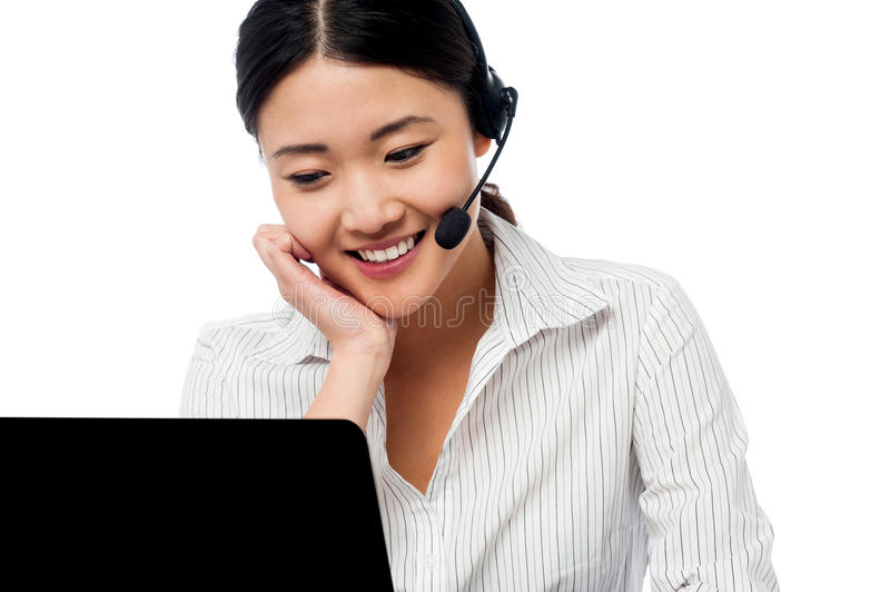 Help desk operator communicating with client