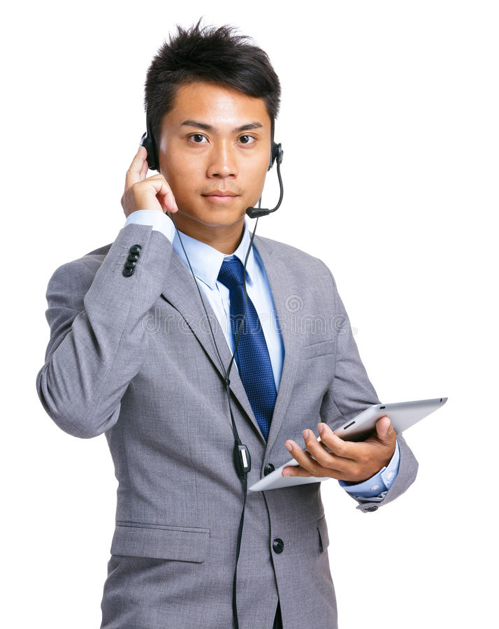 Help desk operator with tablet stock images