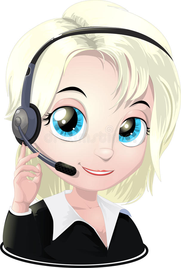 Help-desk. Technical support specialist of users vector illustration