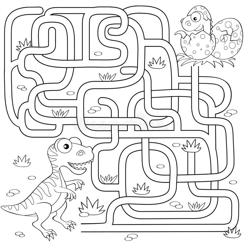 Help dinosaur find path to nest. Labyrinth. Maze game for kids. Black and white vector illustration for coloring book stock illustration