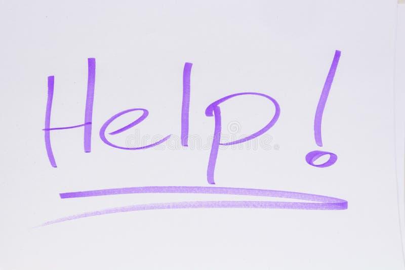 Help! Een verzoek om bijstand stock afbeeldingen