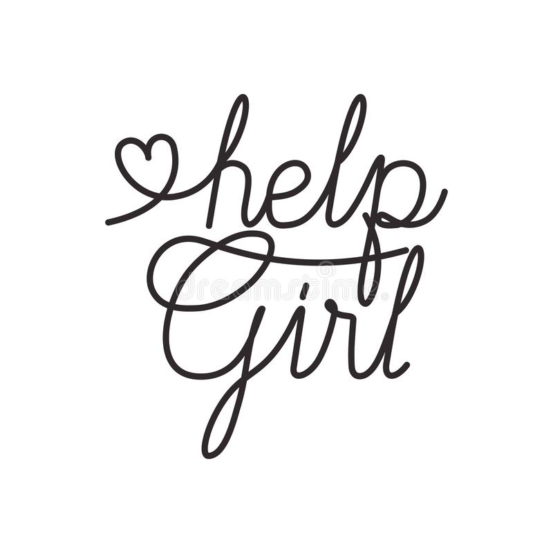 Help girl label isolated icon royalty free illustration