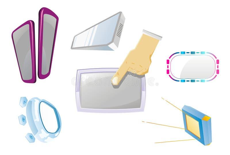 Help hand area TV set. Card stock illustration