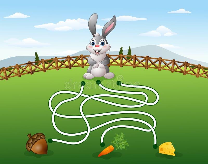 Help het konijn om de wortel te vinden stock illustratie