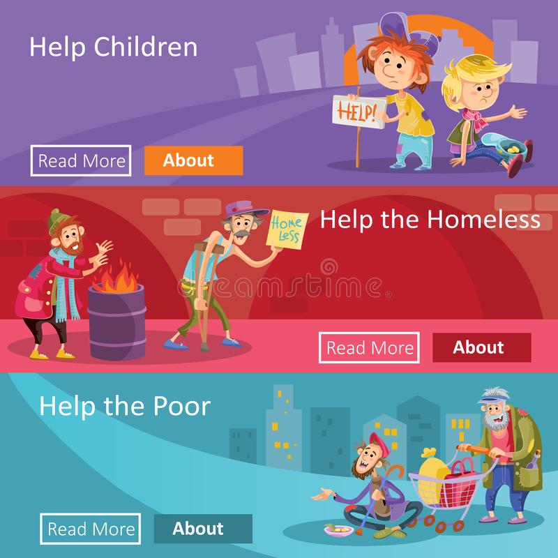 Help for homeless and poor people vector illustration web banners for social charity project or organization royalty free illustration