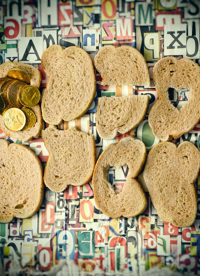 Help the hungry, in this world some people do not have enough bread to survive stock photo