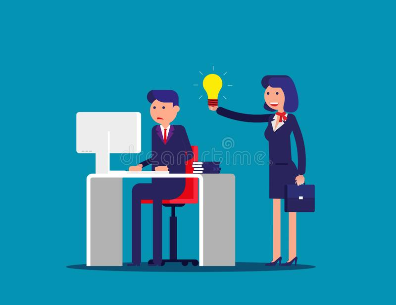 Help with the idea of a colleague . Concept business office vector illustration. Flat cartoon; business character; design style royalty free illustration