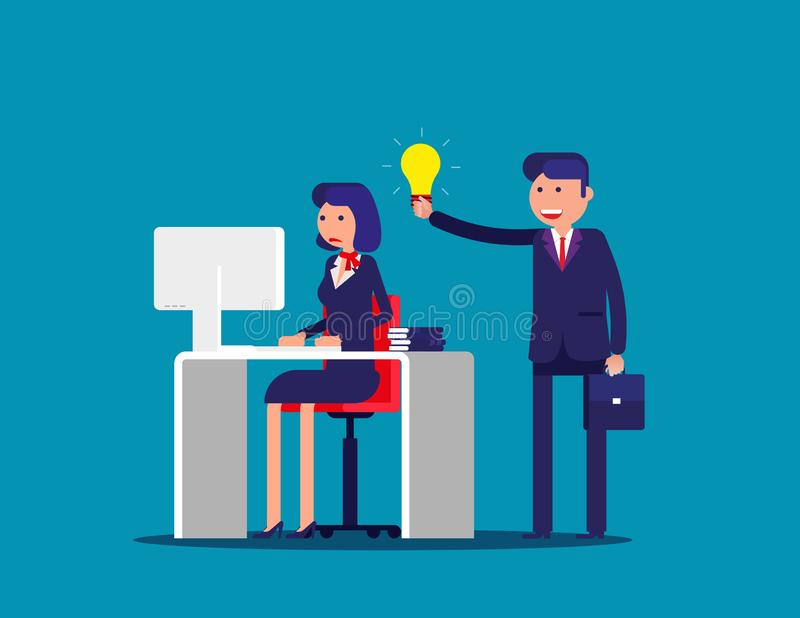 Help with the idea of a colleague . Concept business office vector illustration. Flat cartoon; business character; design style vector illustration