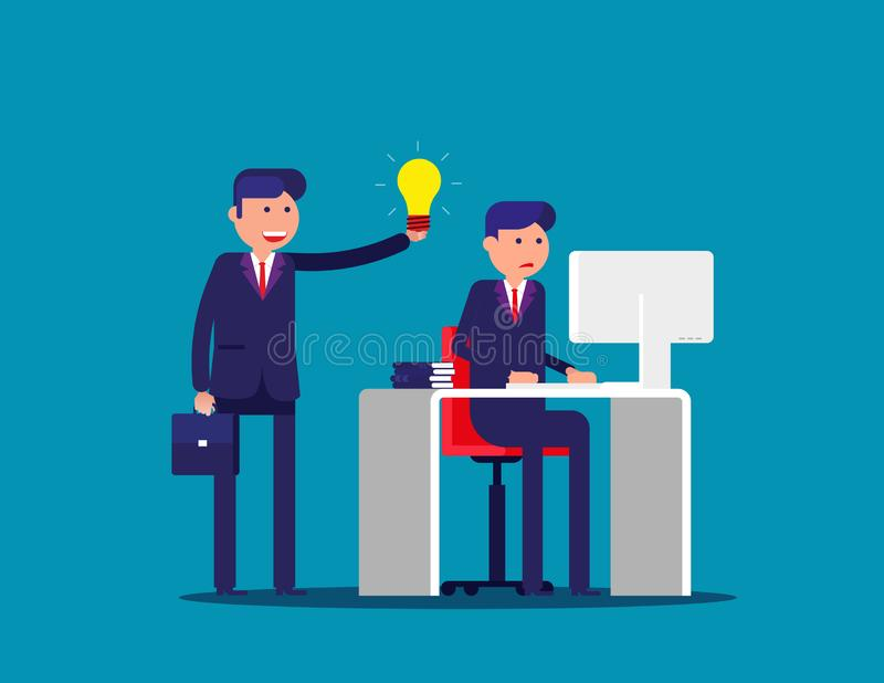 Help with the idea of a colleague . Concept business office vector illustration. Flat cartoon; business character; design style stock illustration