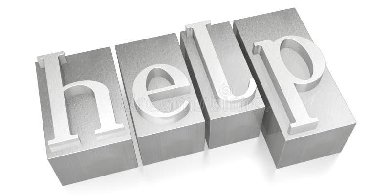 Help - silver letterpress - 3D illustration stock photo