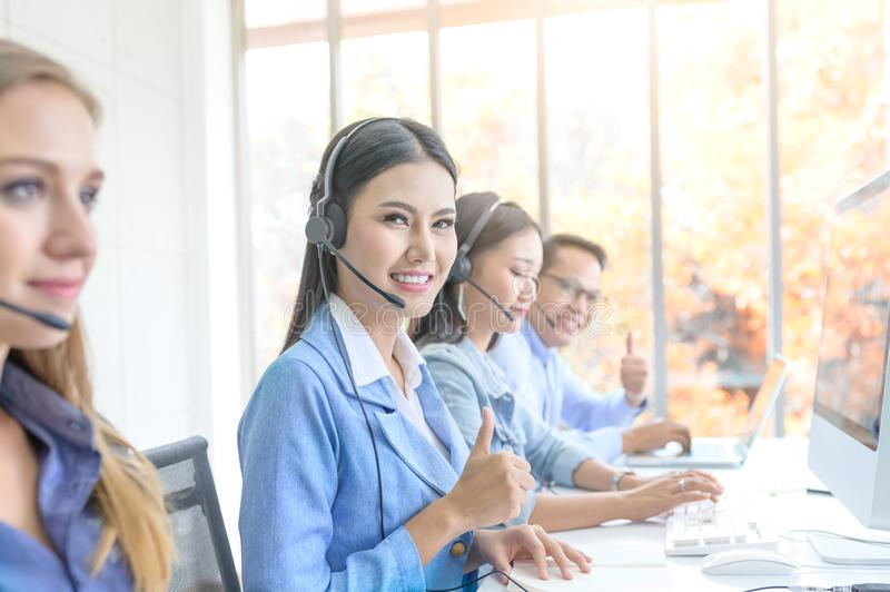 Help line answering and telemarketing. Female caller or receptionist phone operator. Call Center Service. Photo of customer support or sales agent.  Help line royalty free stock photos